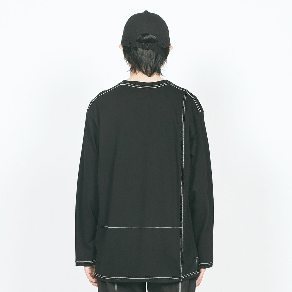CTRS ST LABEL OVER L/S TEE BLA