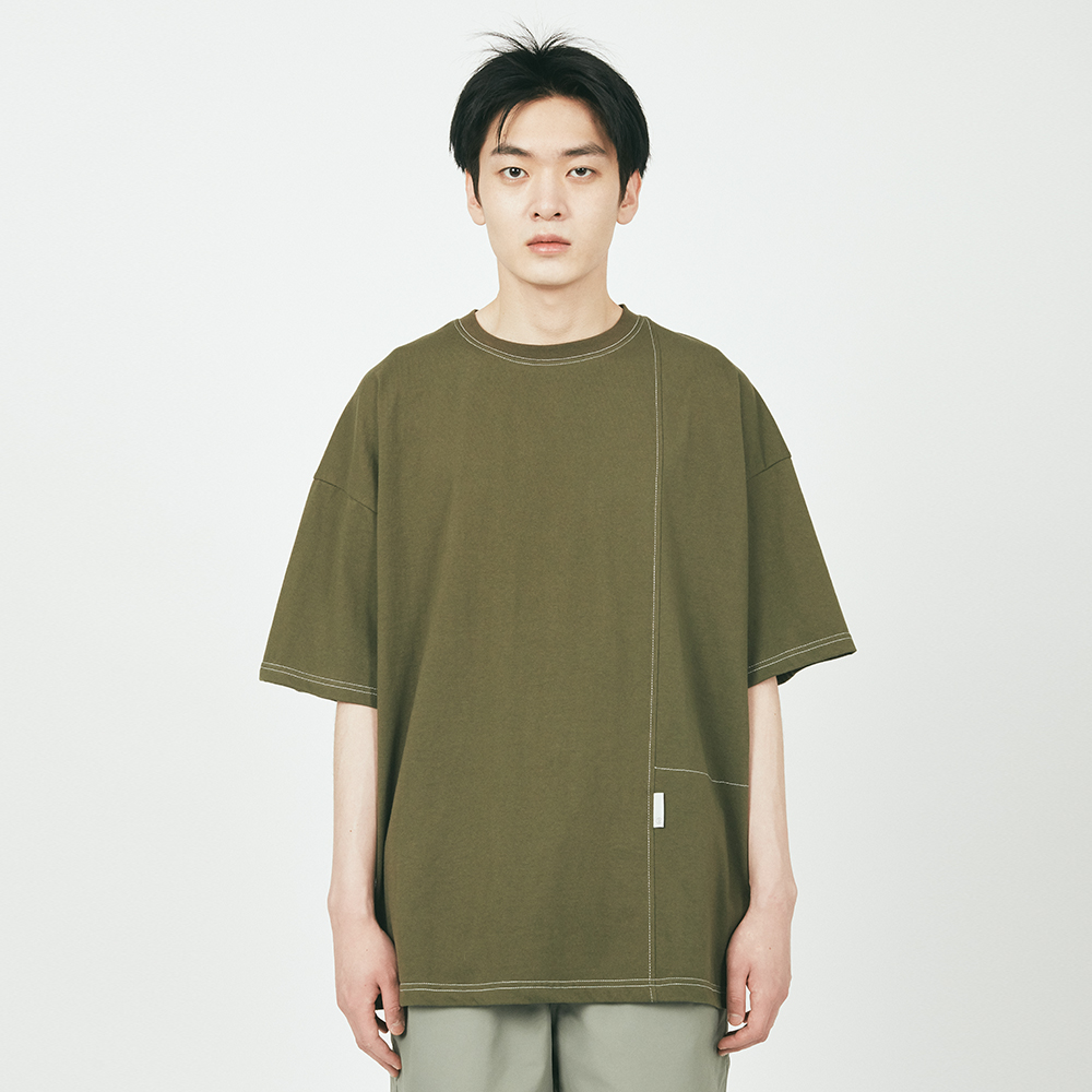 CTRS ST LABEL OVER S/S TEE KHA