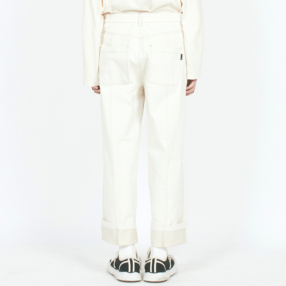 V CUT ST DENIM PANTS IVORY