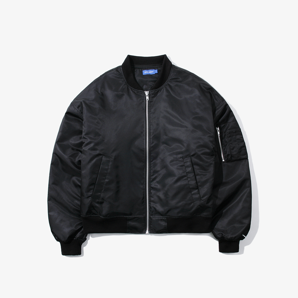 HOODED OVER MA-1 JACKET BLACK