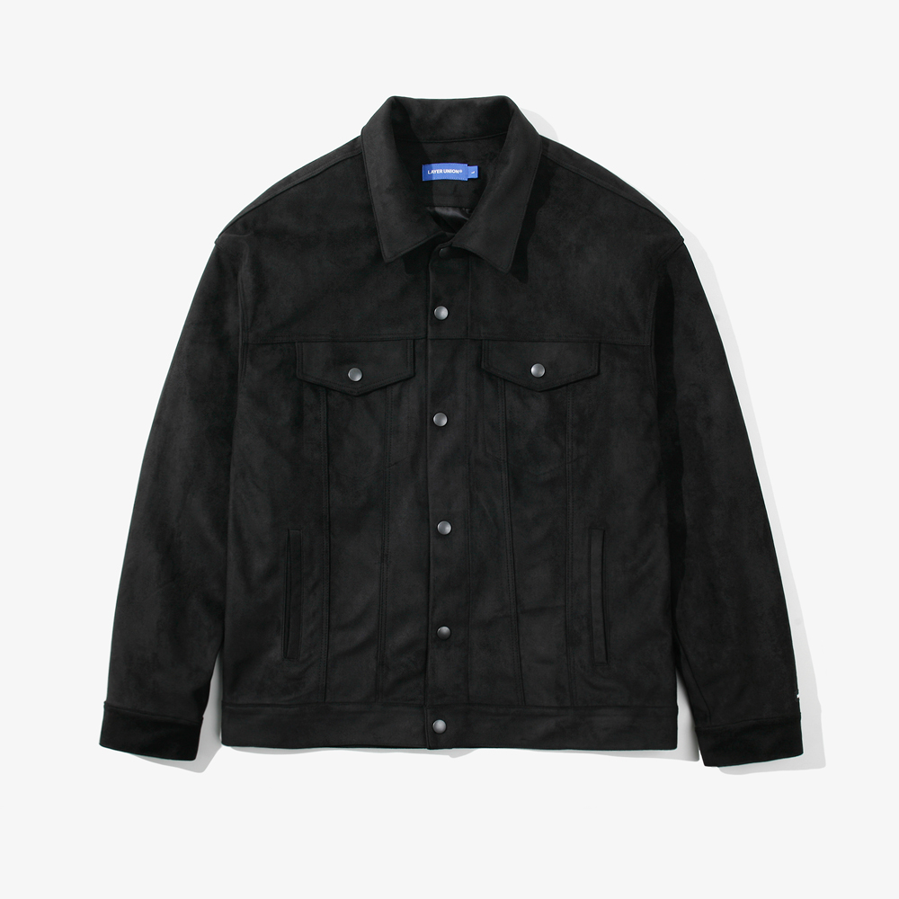 SNAP SUEDE TRUCKER JACKET BLAC