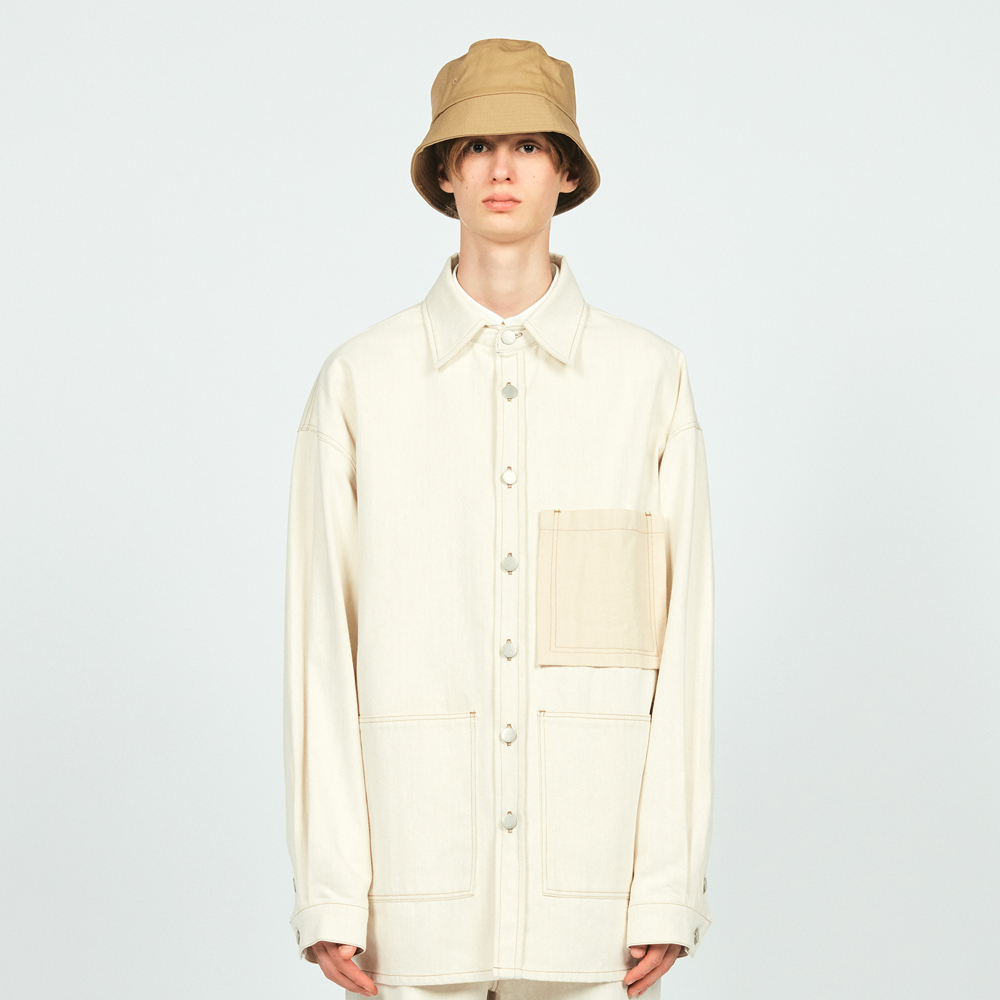STITCH DENIM OVER SHIRTS IVORY