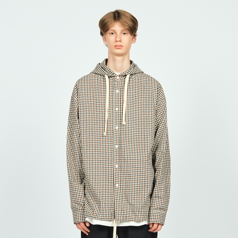 CHECK HOODED SHIRTS BROWN