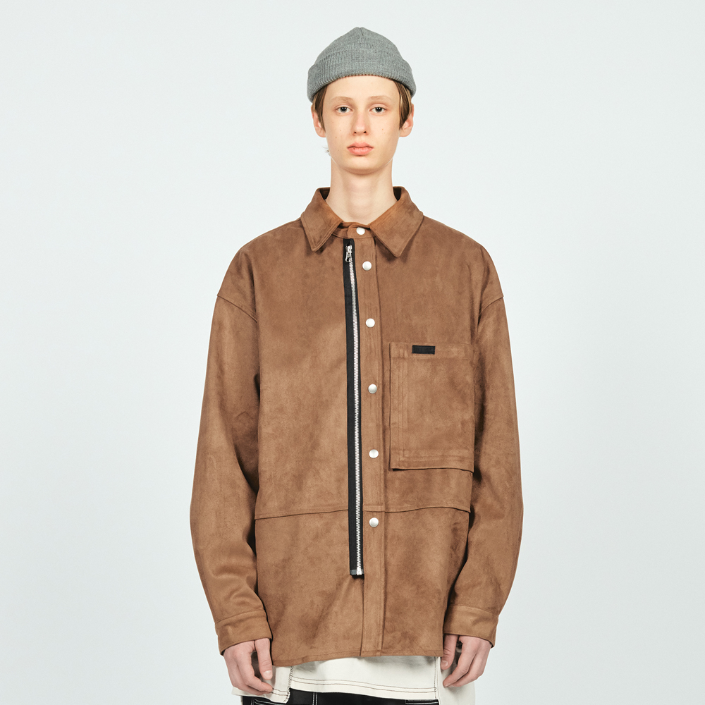ZIP SNAP SUEDE OVER SHIRTS CAM