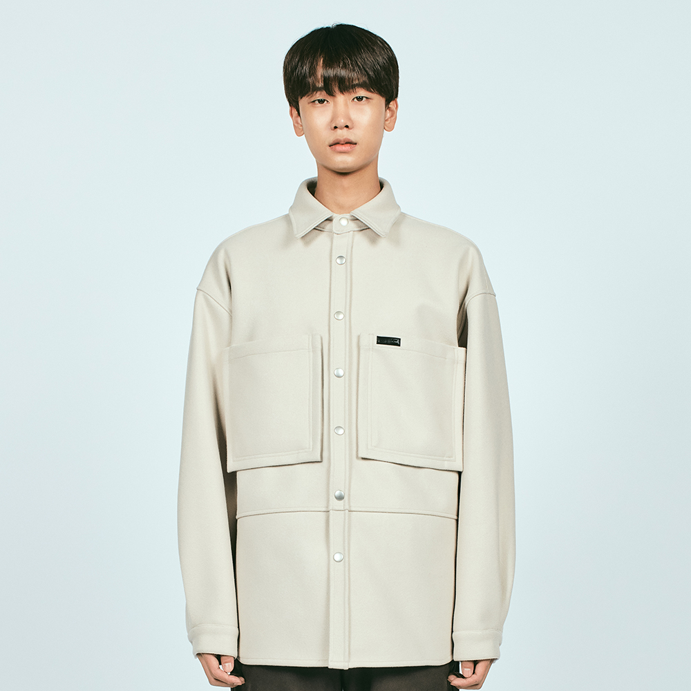 SNAP WOOL OVER SHIRTS IVORY