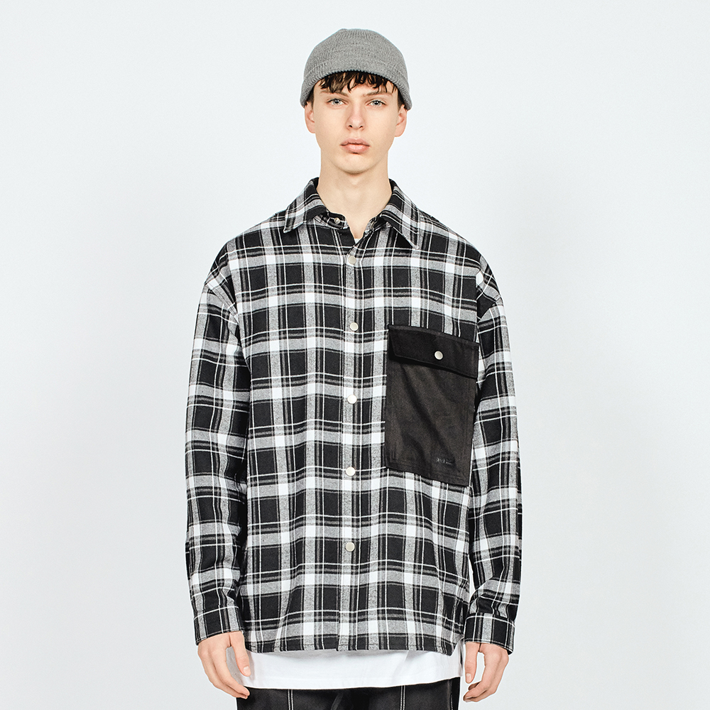POCKET CHECK OVER SHIRTS BLACK