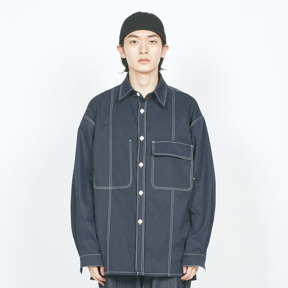 V CUT CTRS ST OVER SHIRTS NAVY